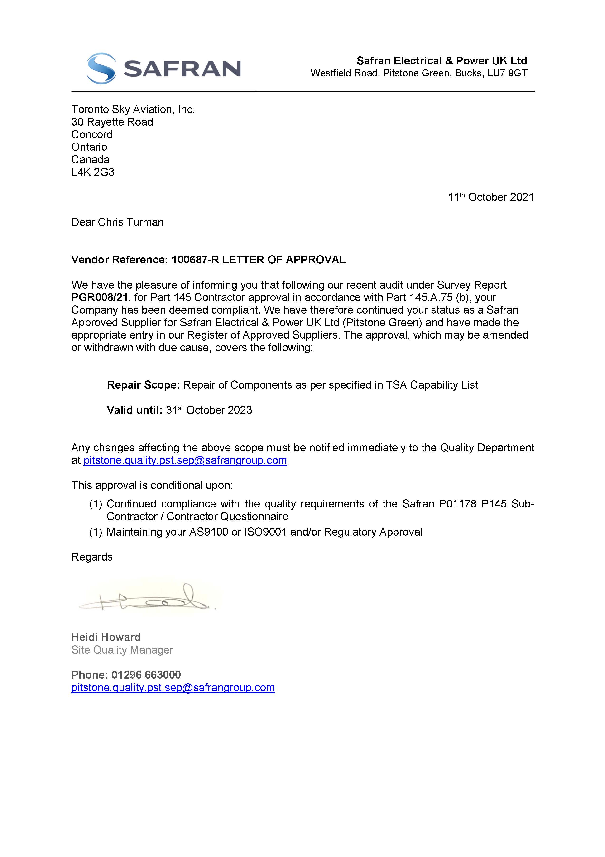 SAFRAN Contractor Repair Approval Letter